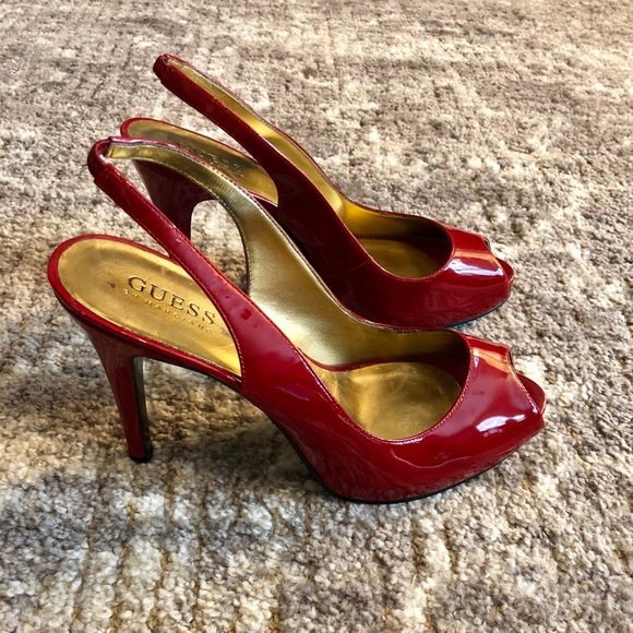 0823b087573 Guess Red Patent Platform Peep Toe Slingback Sz 8